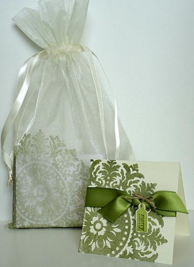 Stamped Card With Sparkly Embossed Bag