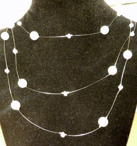 Handmade Floating Pearl and Crystal Necklace