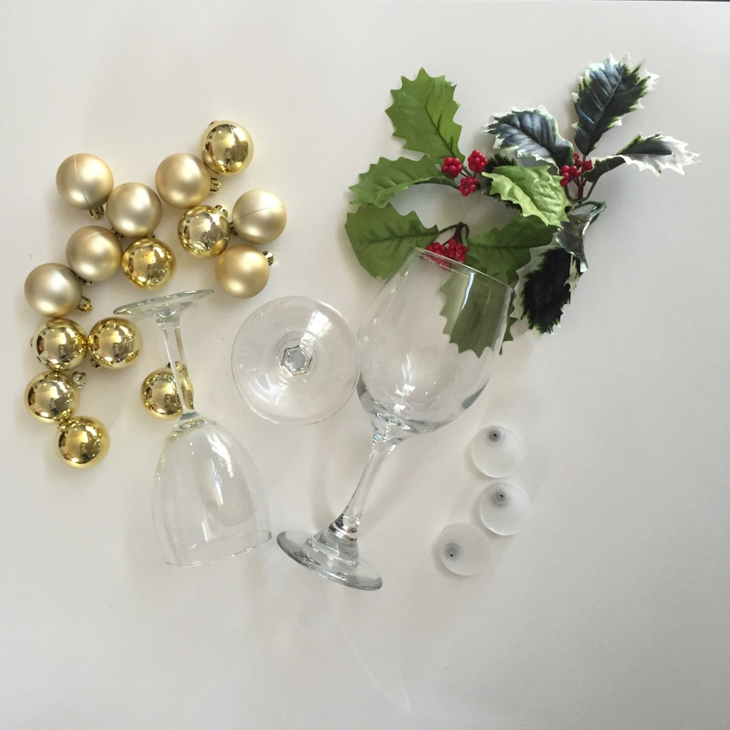 Diy holiday wine glass centerpieces