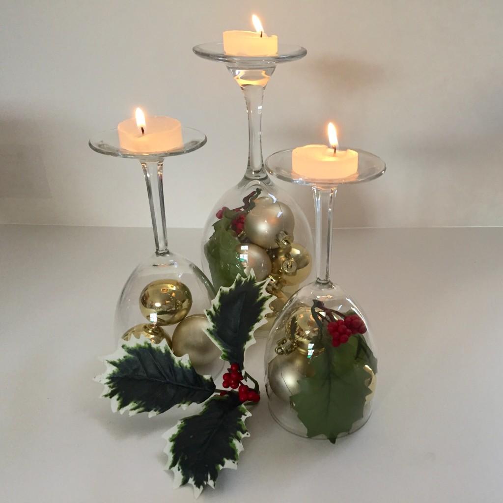 Diy holiday wine glass centerpieces bride