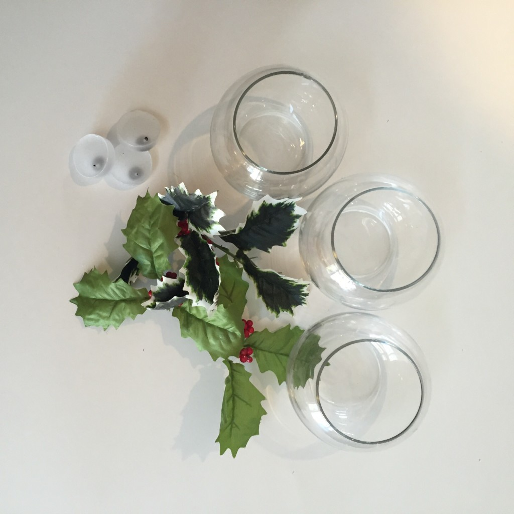 Diy floating candle holly centerpieces bride