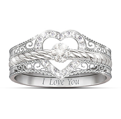 I Love You Heart Shaped Diamond Stacking Rings
