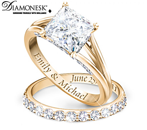 Princess 18K Gold Plated Personalized Bridal Wedding Ring Set For Women